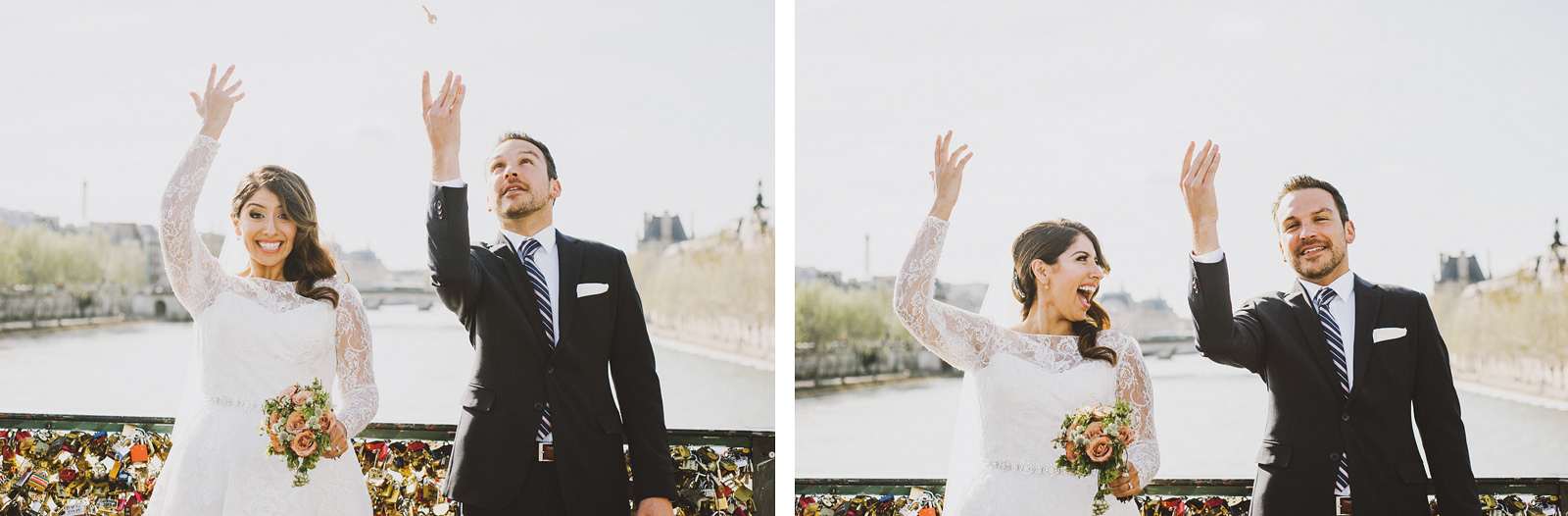 Bride and Groom tossing away their keys at Love Lock Bridge | Springtime Paris Elopement at Parc des Buttes Chaumont