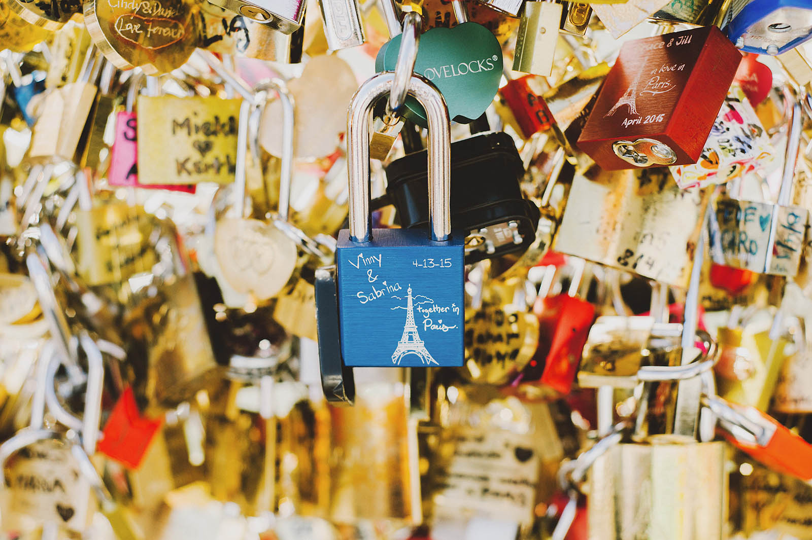 Love Lock Bridge | Springtime Paris Elopement at Parc des Buttes Chaumont