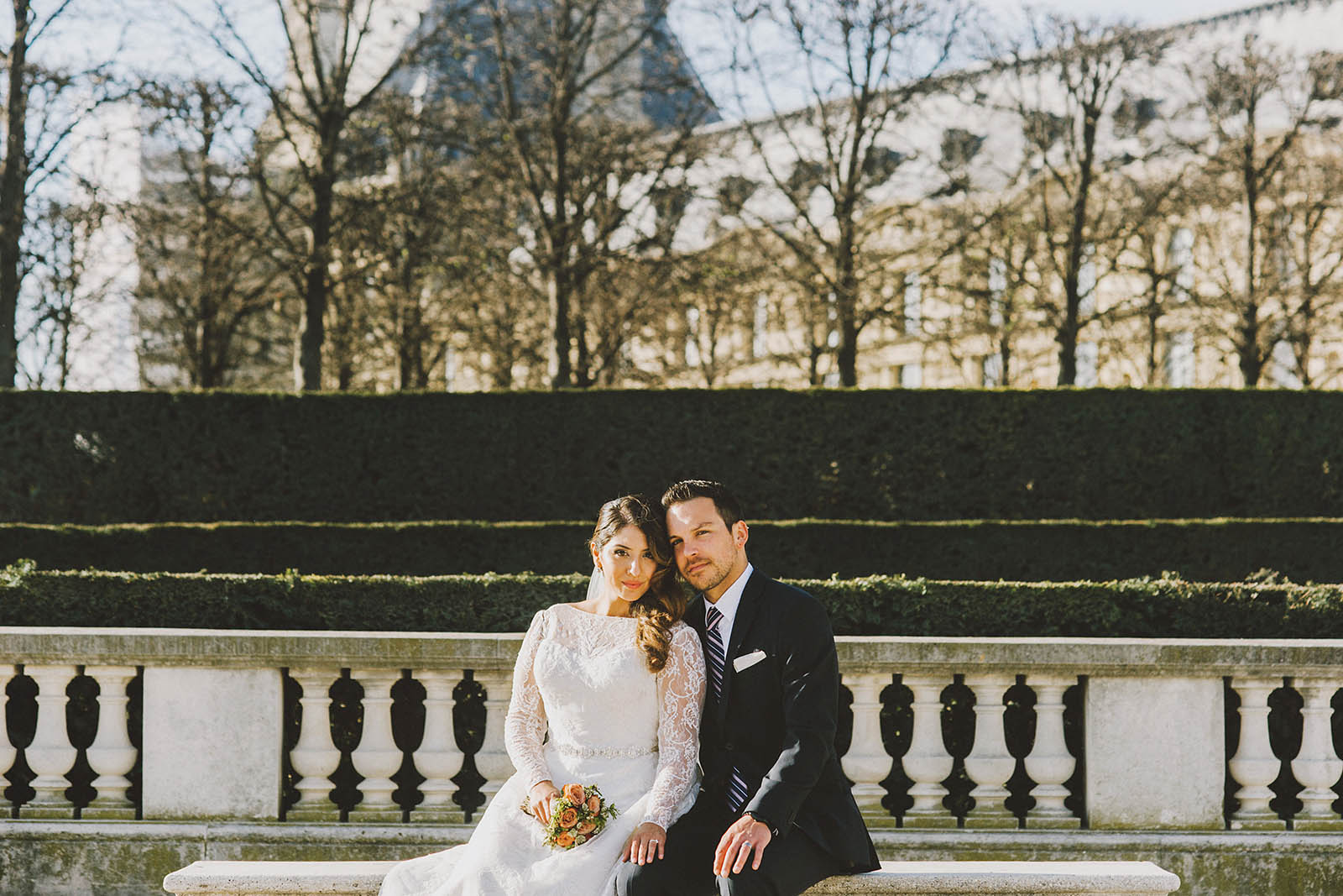 Portraits outside of the Louvre | Springtime Paris Elopement at Parc des Buttes Chaumont