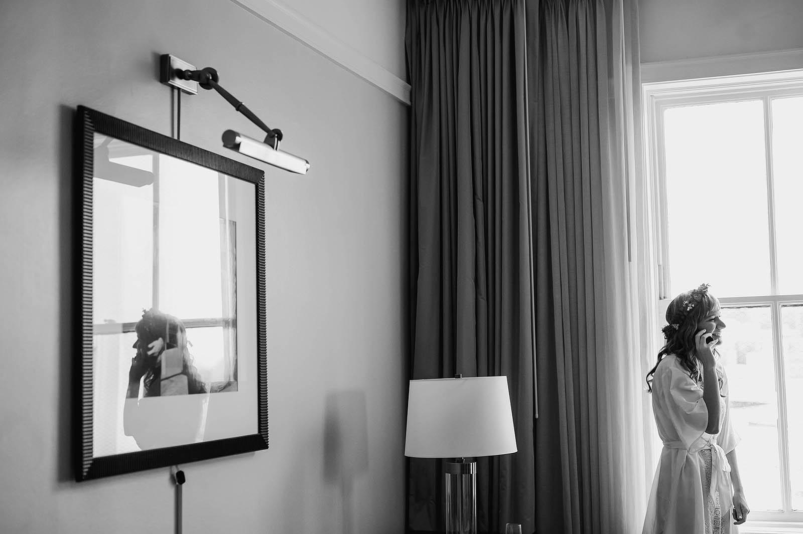 Bride on the phone in hotel | Castaway Portland Wedding