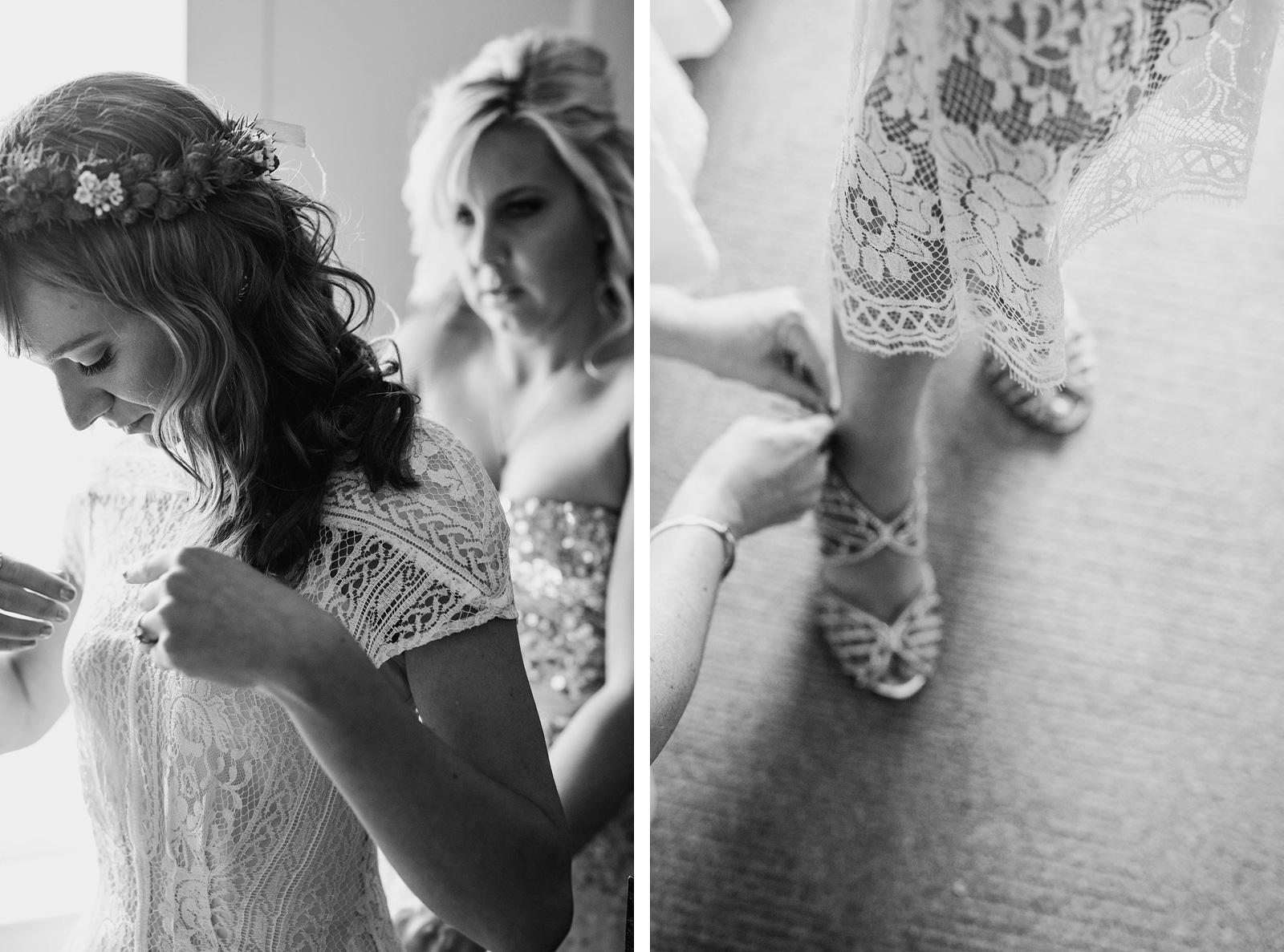 Bride putting on dress | Castaway Portland Wedding