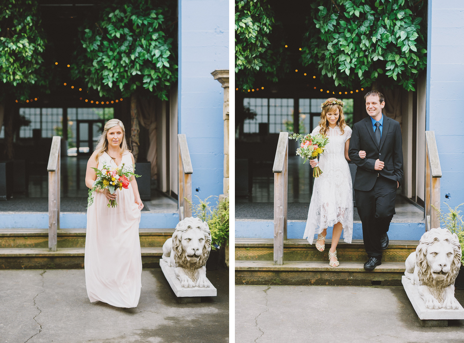 Maid of honor and Bride's grand entrace | Castaway Portland Wedding