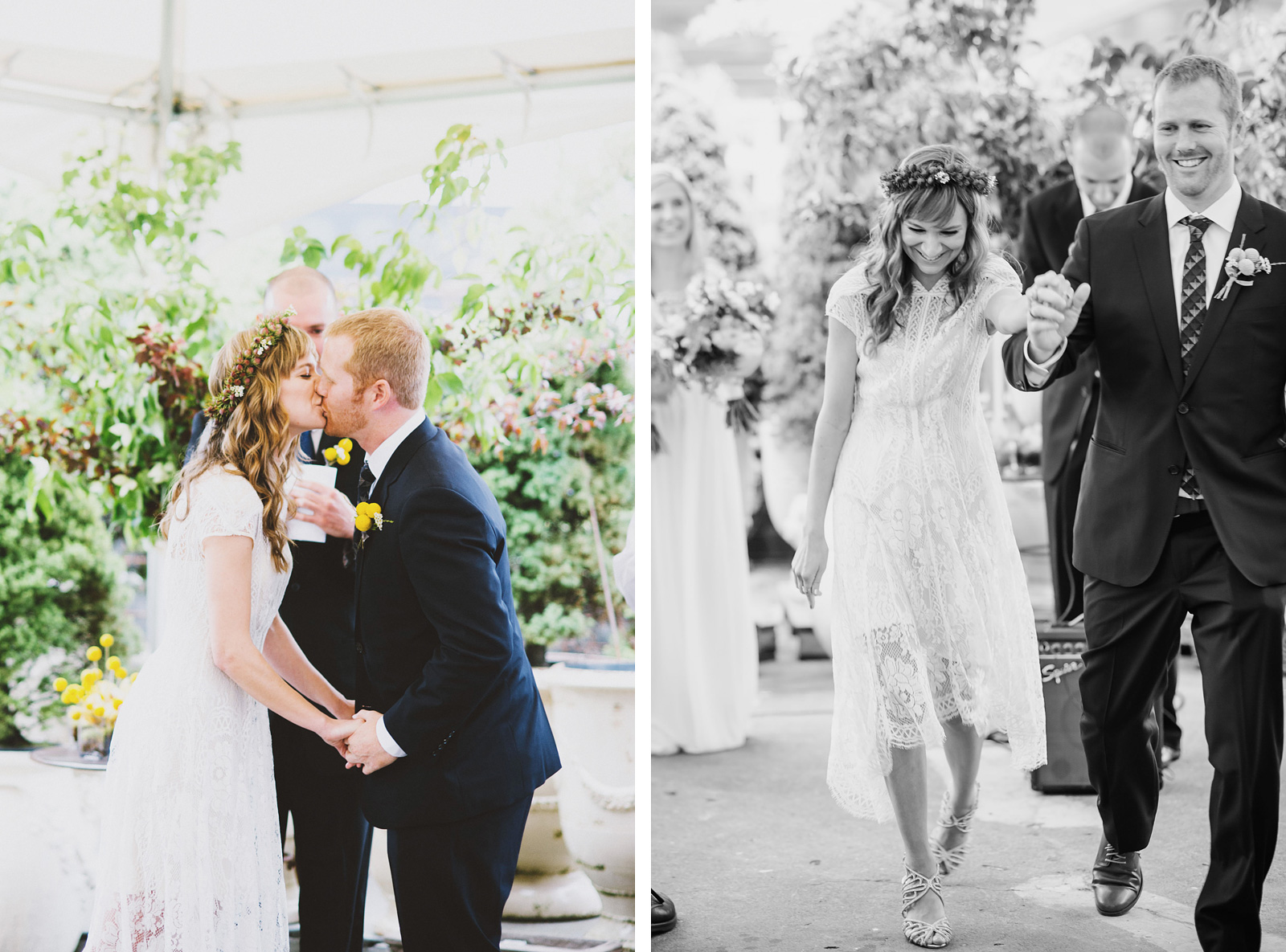 First kiss and processional | Castaway Portland Wedding