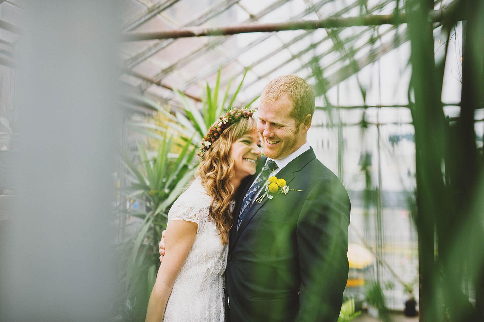 Portraits inside the Versailles Garden greenhouse | Castaway Portland Wedding