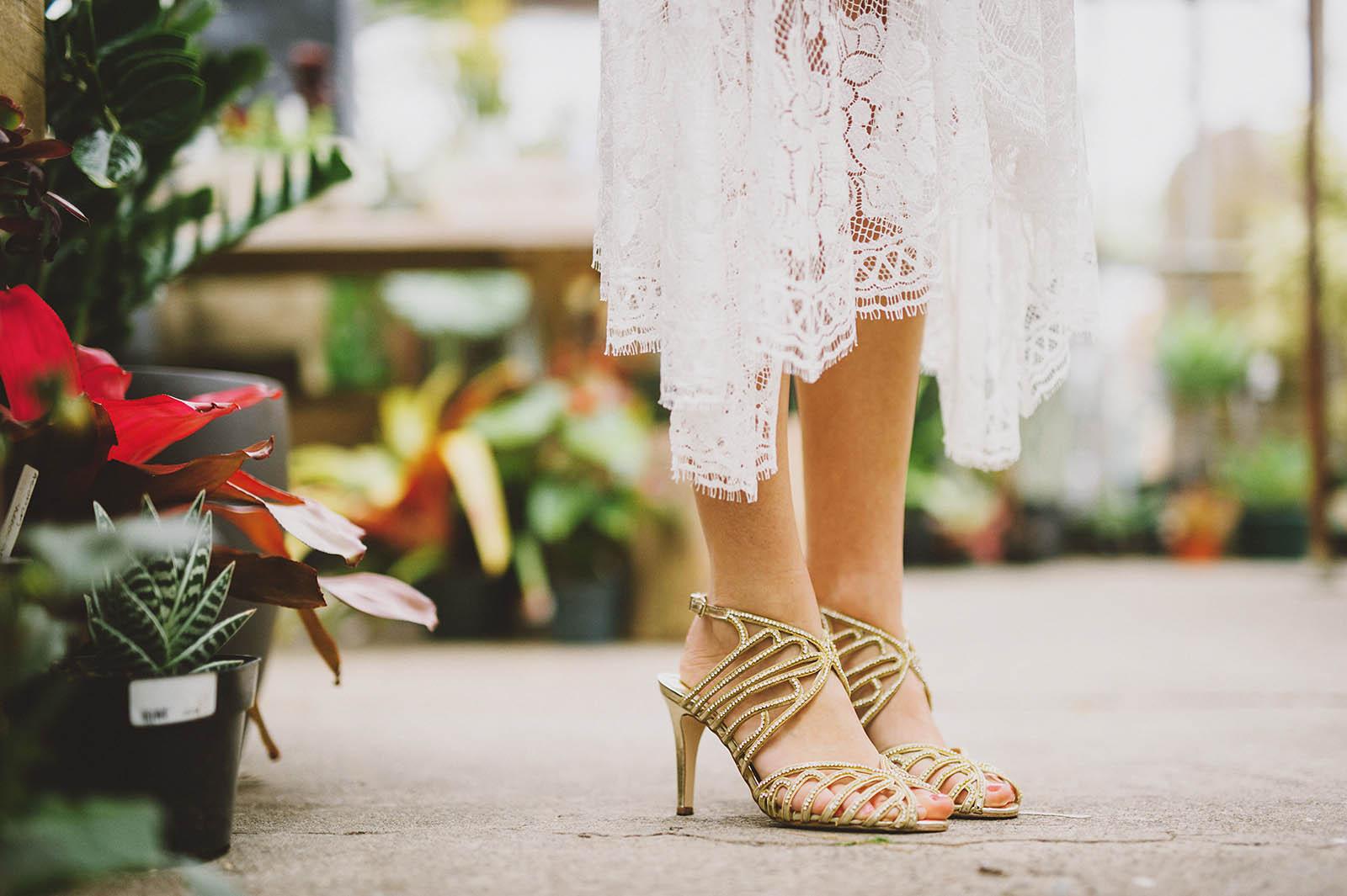 Bride's shoes at the Versailles Garden greenhouse | Castaway Portland Wedding