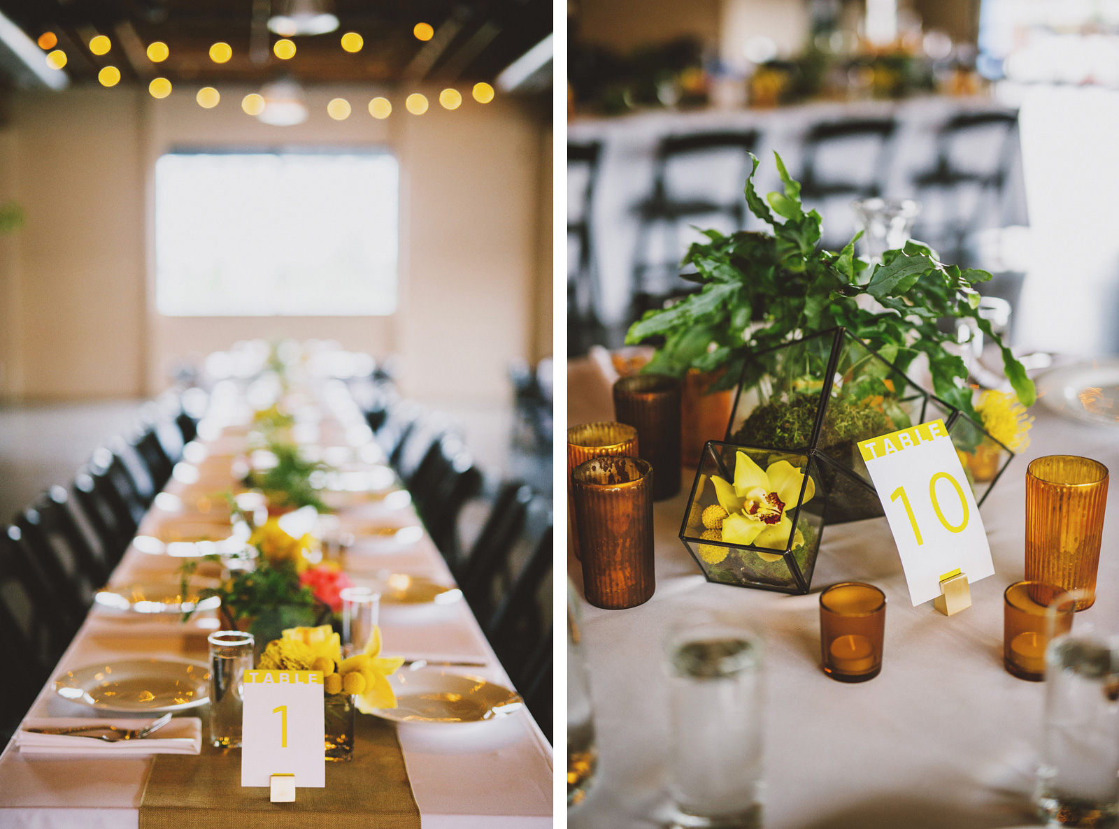 Reception table settings and centerpieces | Castaway Portland Wedding