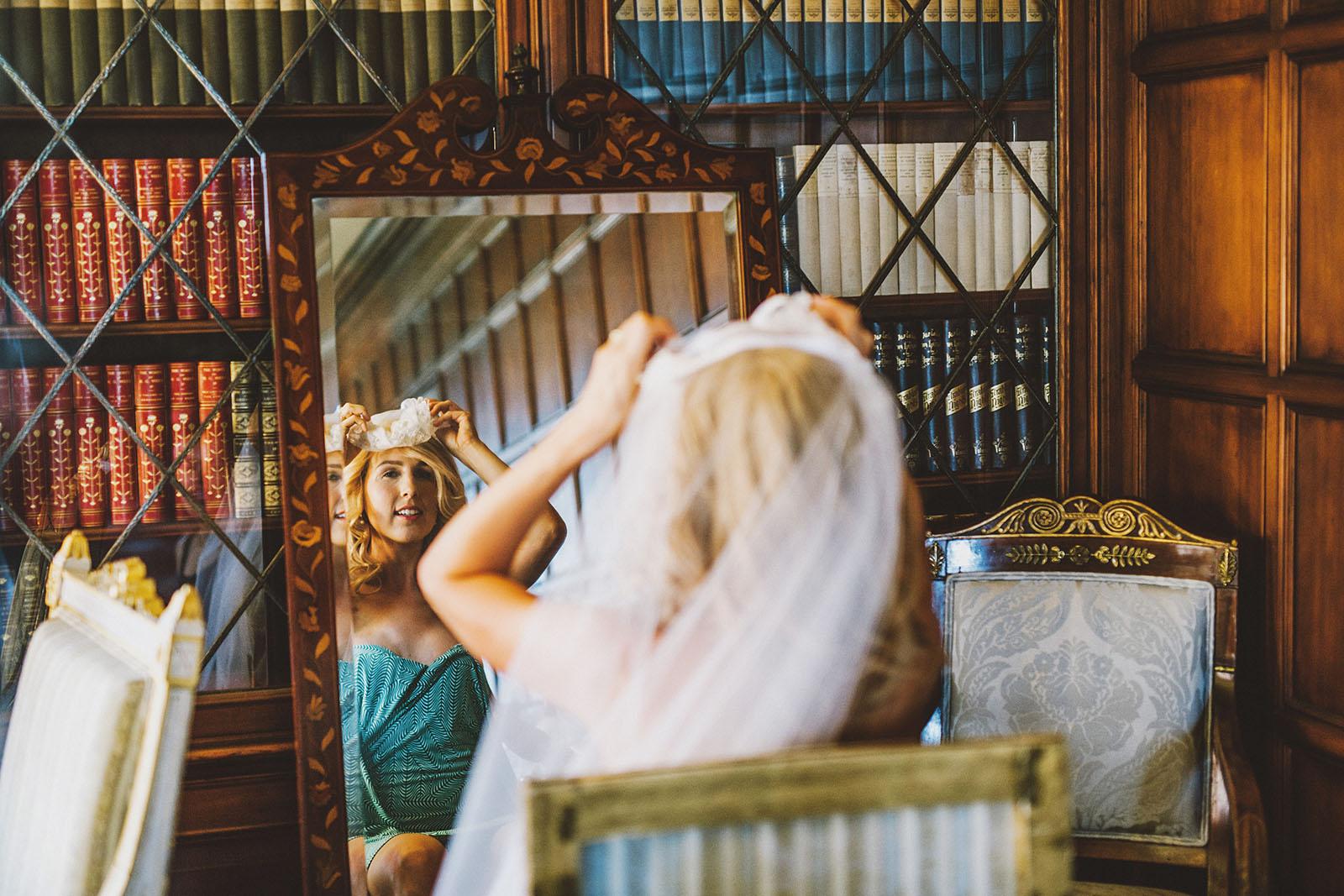 Bride putting on veil | Portland Town Club Wedding