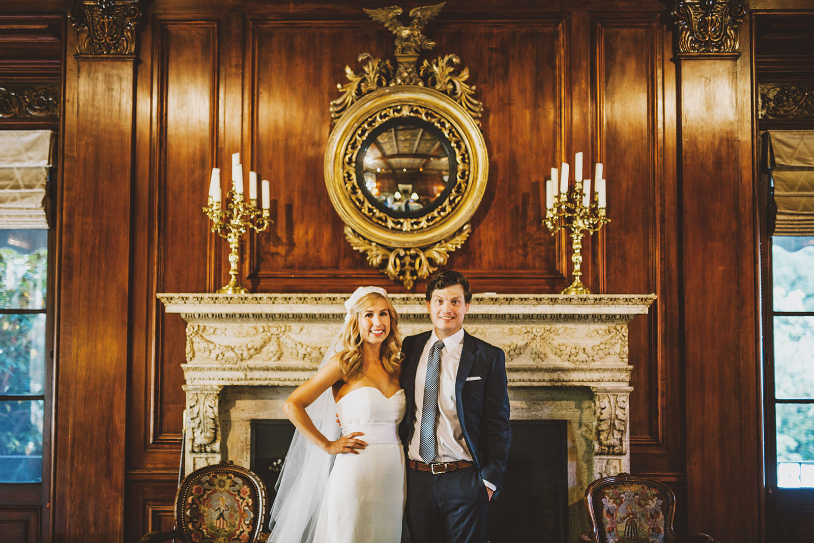 Portrait of bride and groom in the lobby | Portland Town Club Wedding