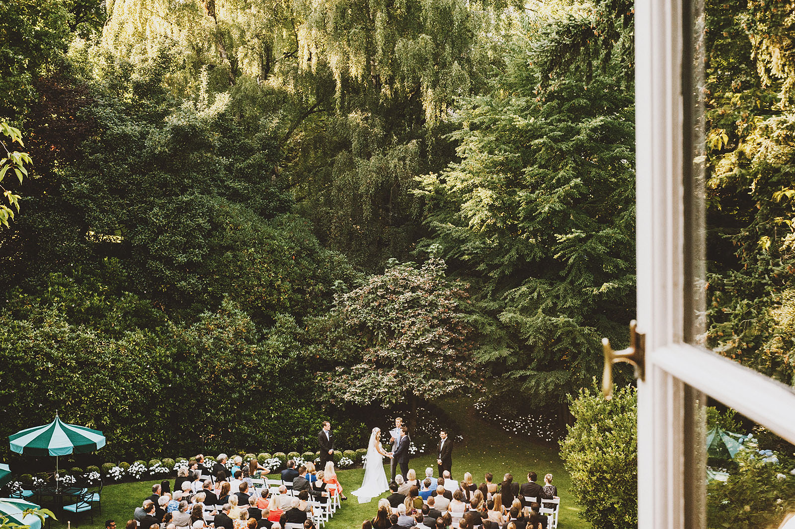 Aerial photo of the ceremony on the lawn | Portland Town Club Wedding
