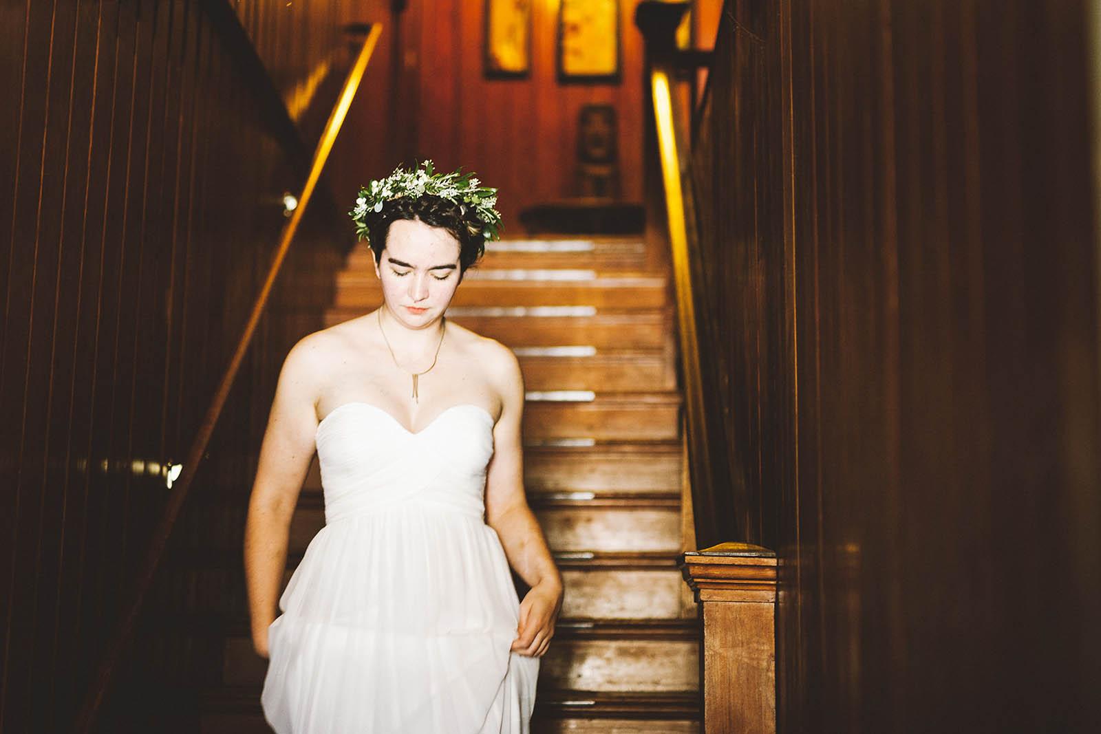 Bride walking downstairs | SouWester Lodge Wedding