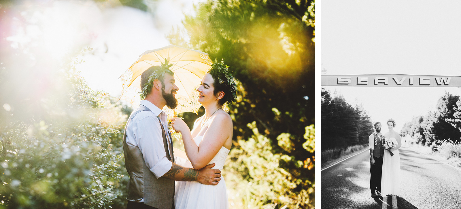 Portraits on the walk to the beach | SouWester Lodge Wedding