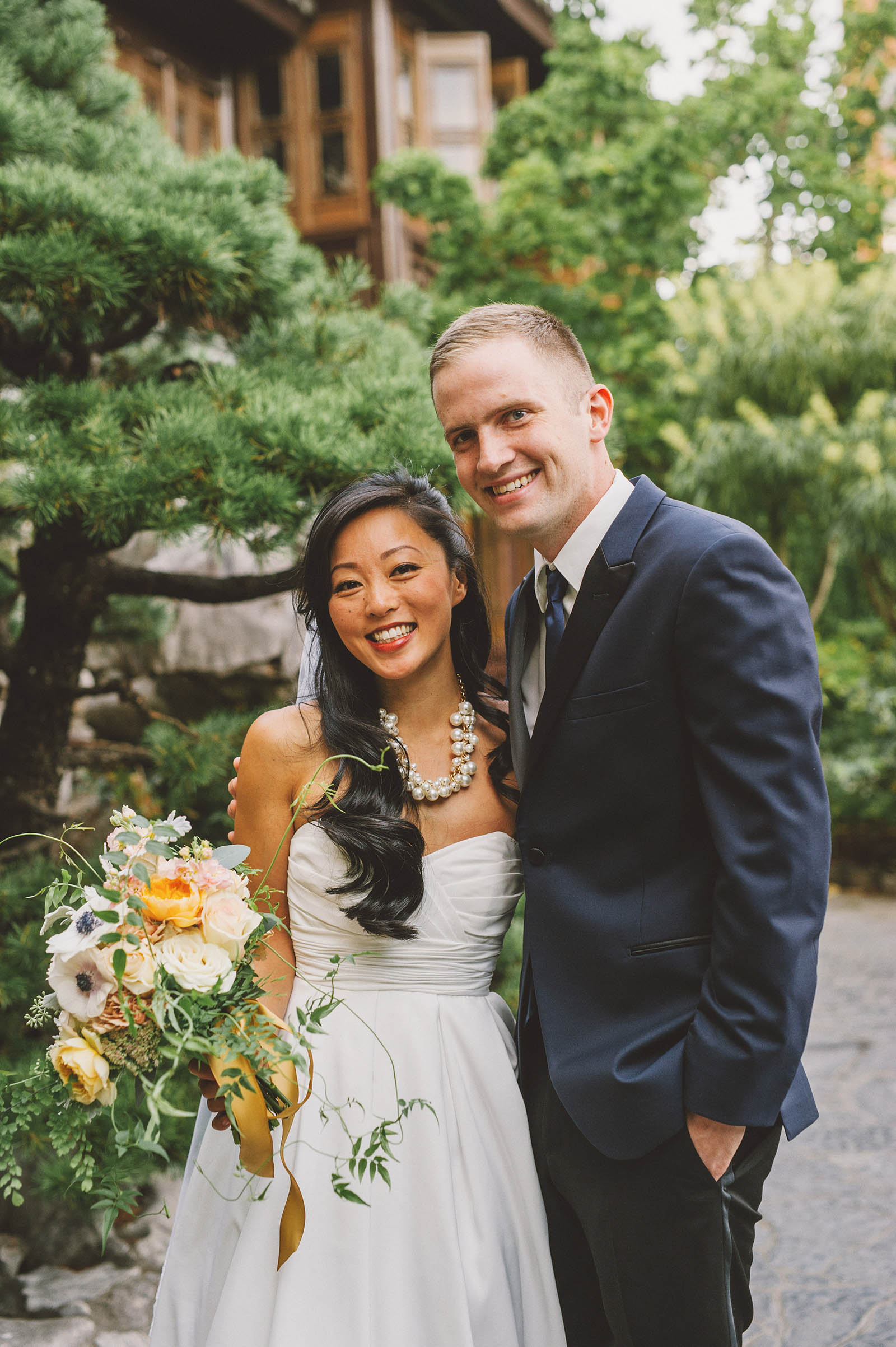 Portrait of bride and groom near the teahouse | Lan Su Chinese Garden Wedding