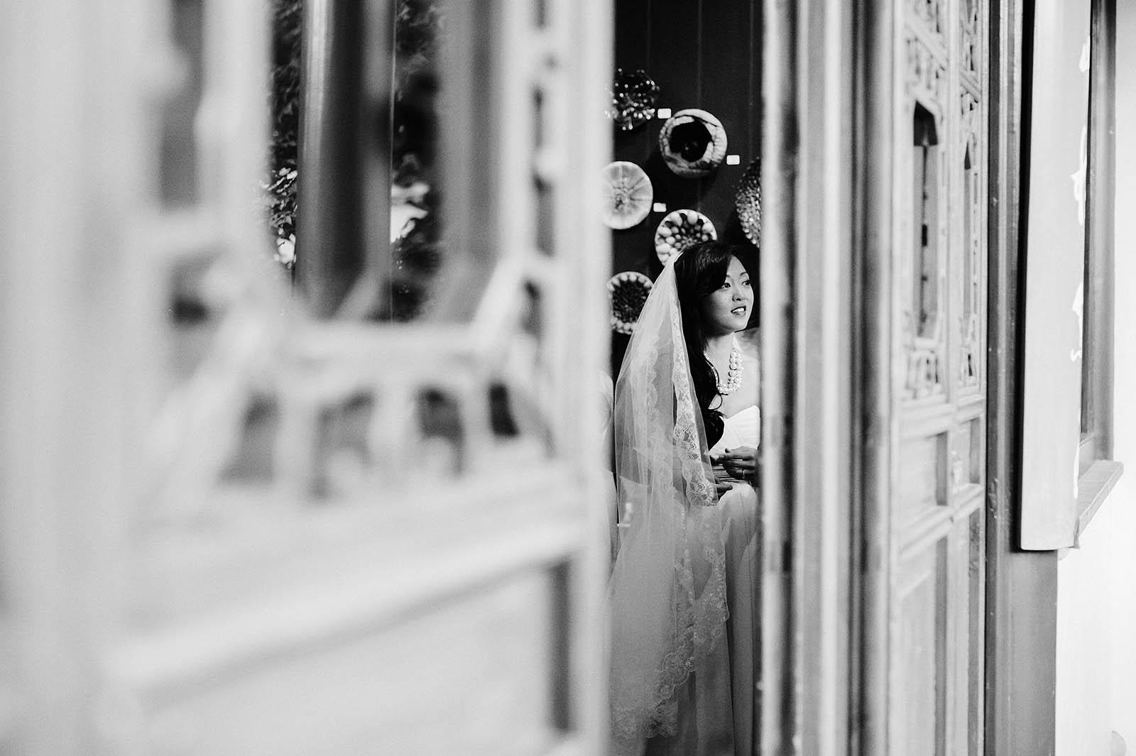 Bride waiting for ceremony to start | Lan Su Chinese Garden Wedding