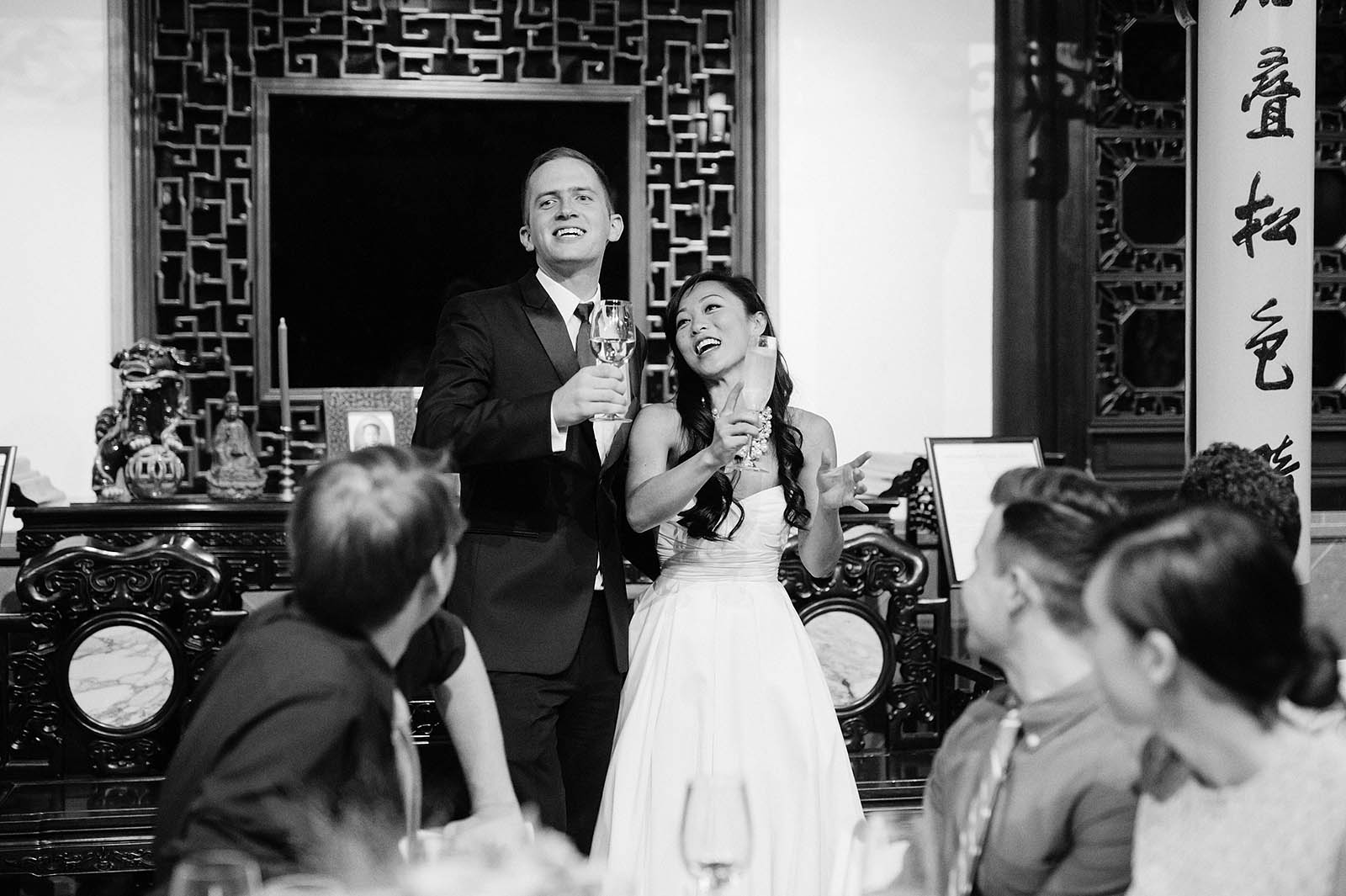 Bride and Groom visiting with guests | Lan Su Chinese Garden Wedding