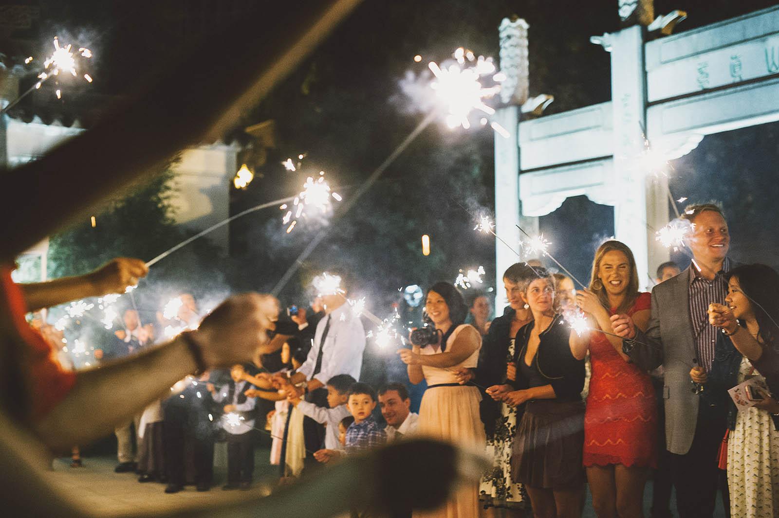 Sparkler exit | Lan Su Chinese Garden Wedding