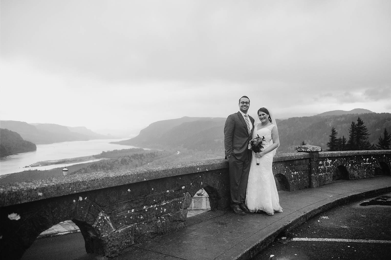 Bride and Groom at Crown Point Vista House | Wahclella Falls Elopement