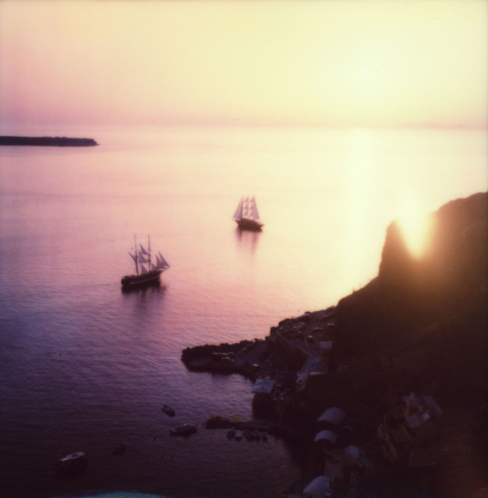 MiNT SLR670m Polaroid Review | Sunset on Ammoudi Bay, Santorini