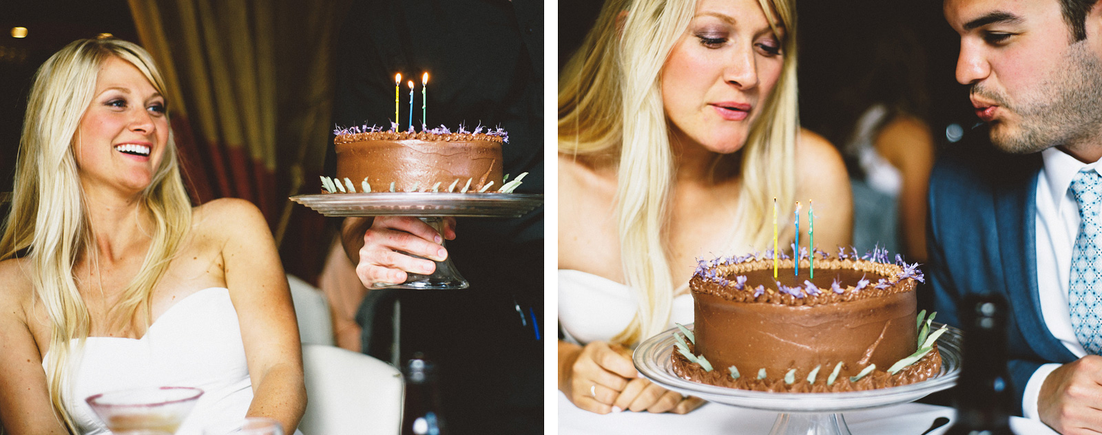 Blowing out candles on their cake | San Francisco City Hall Wedding