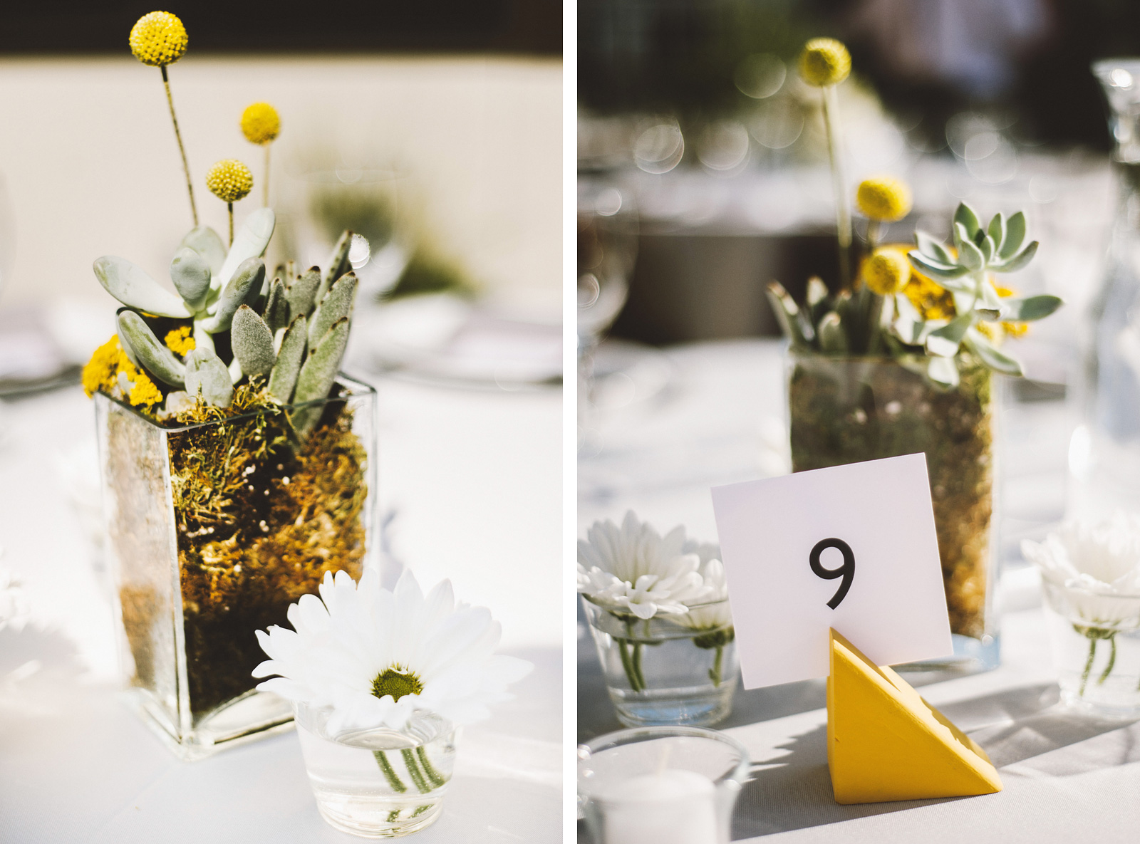 Dinner table centerpieces | Ecotrust Rooftop Wedding in Downtown PDX