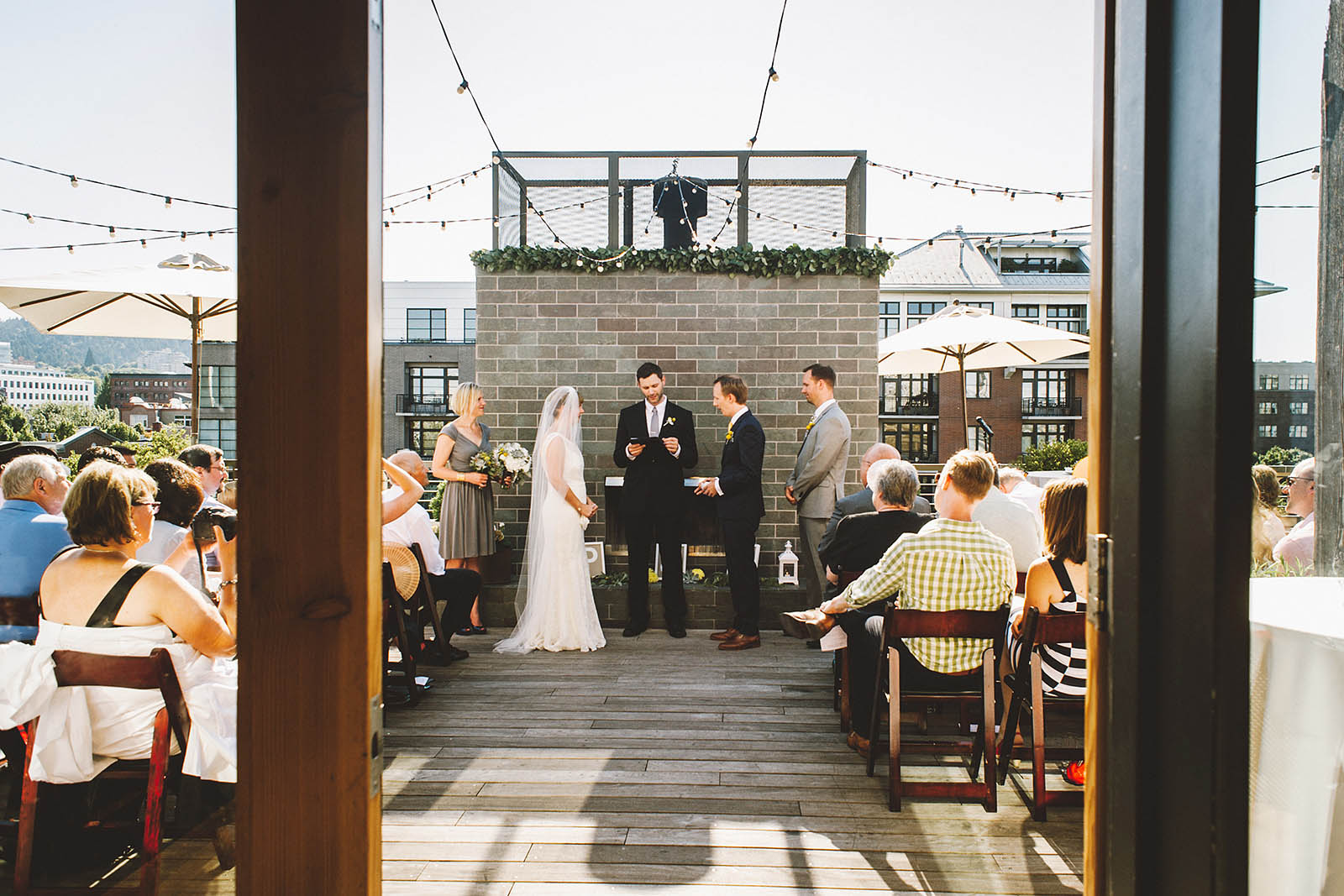 Ceremony view from front doors | Ecotrust Rooftop Wedding in Downtown PDX