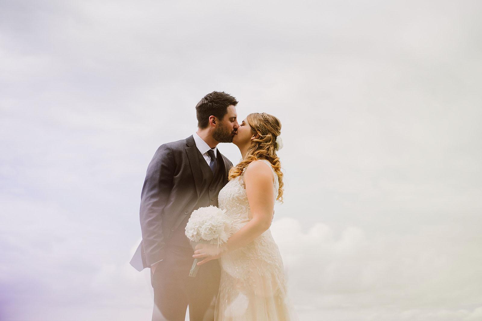 Bride and Groom kissing | Camano Island Wedding