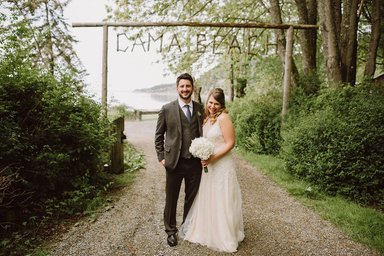 Bride and Groom at Cama Beach State Park | Camano Island Wedding