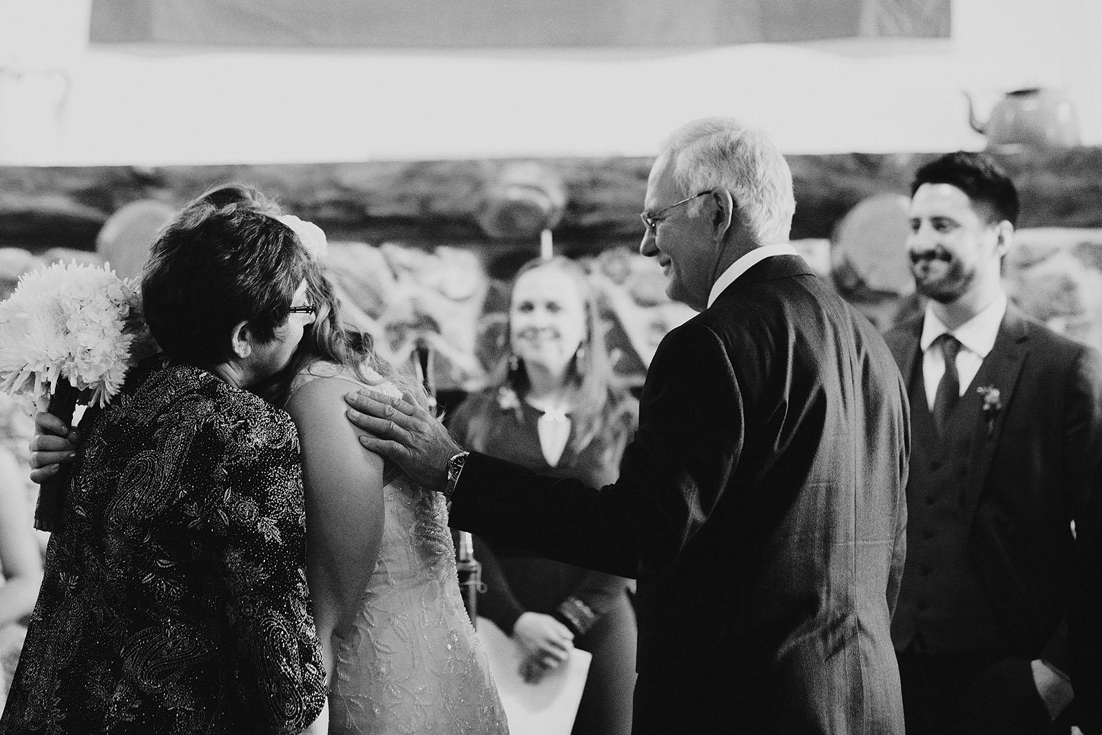 Bride's parents giving her away | Camano Island Wedding