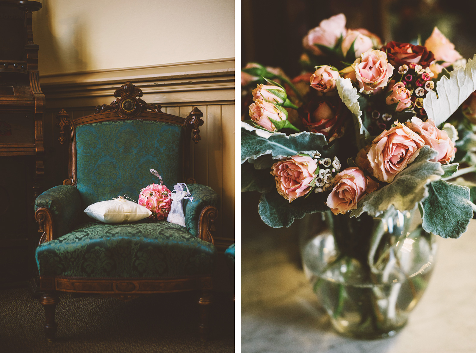Ring Bearer's Pillow and Bride's Bouquet sitting on a velvet chair | Old Church Wedding Photos