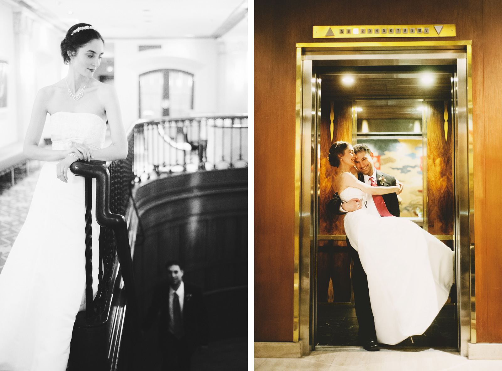 Bride and Groom going up the hotel elevator | Old Church Wedding Photos