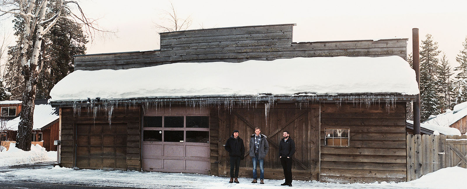 Boys in front of an ice covered barn in Trout Lake, WA | Contax Aria