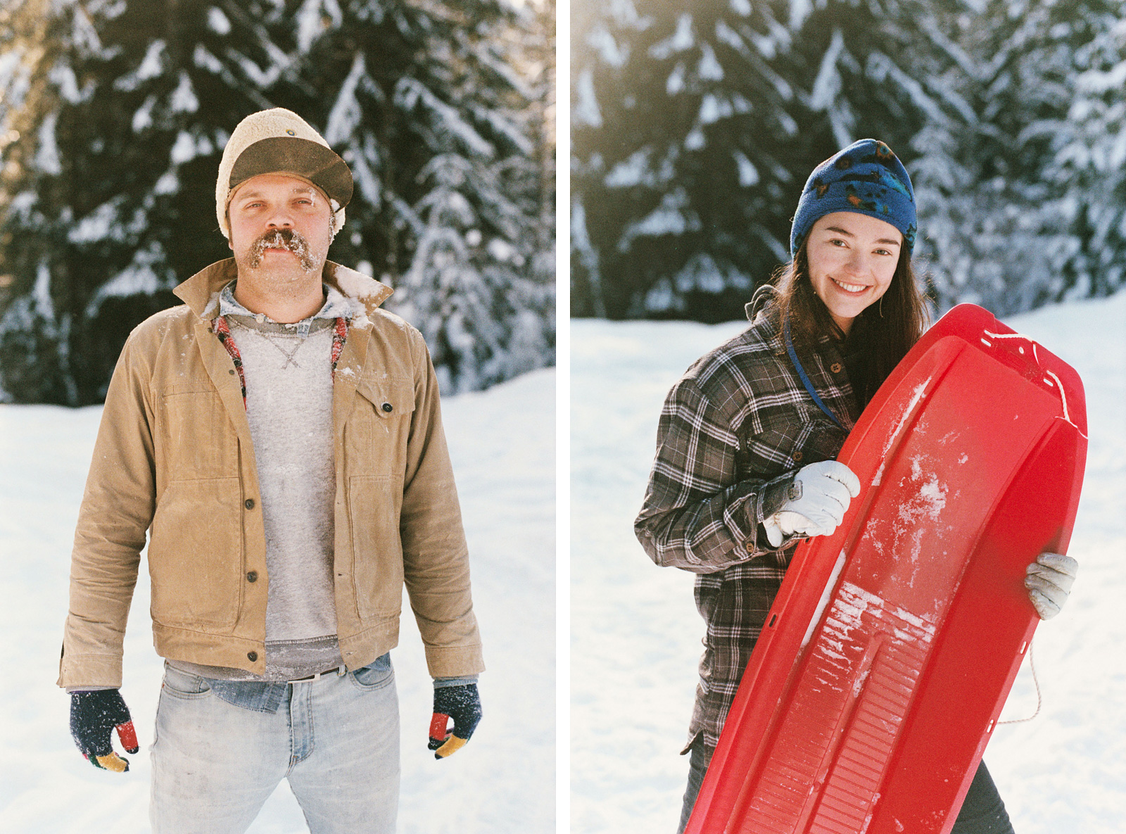 Portraits of friends at the snow sledding hill in Trout Lake, WA | Contax Aria