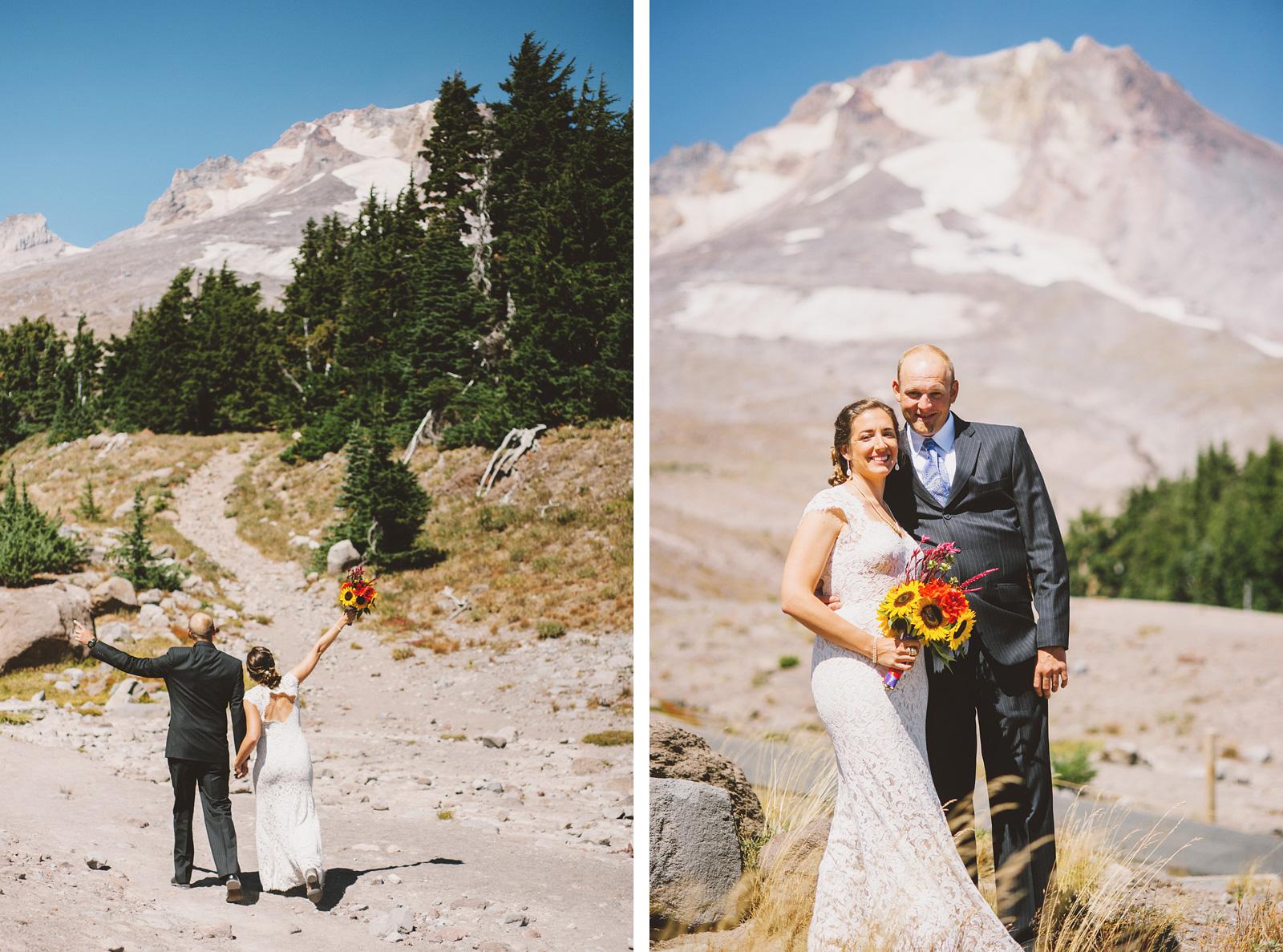 Bride and groom greeting Mt. Hood | Mazama Lodge Wedding