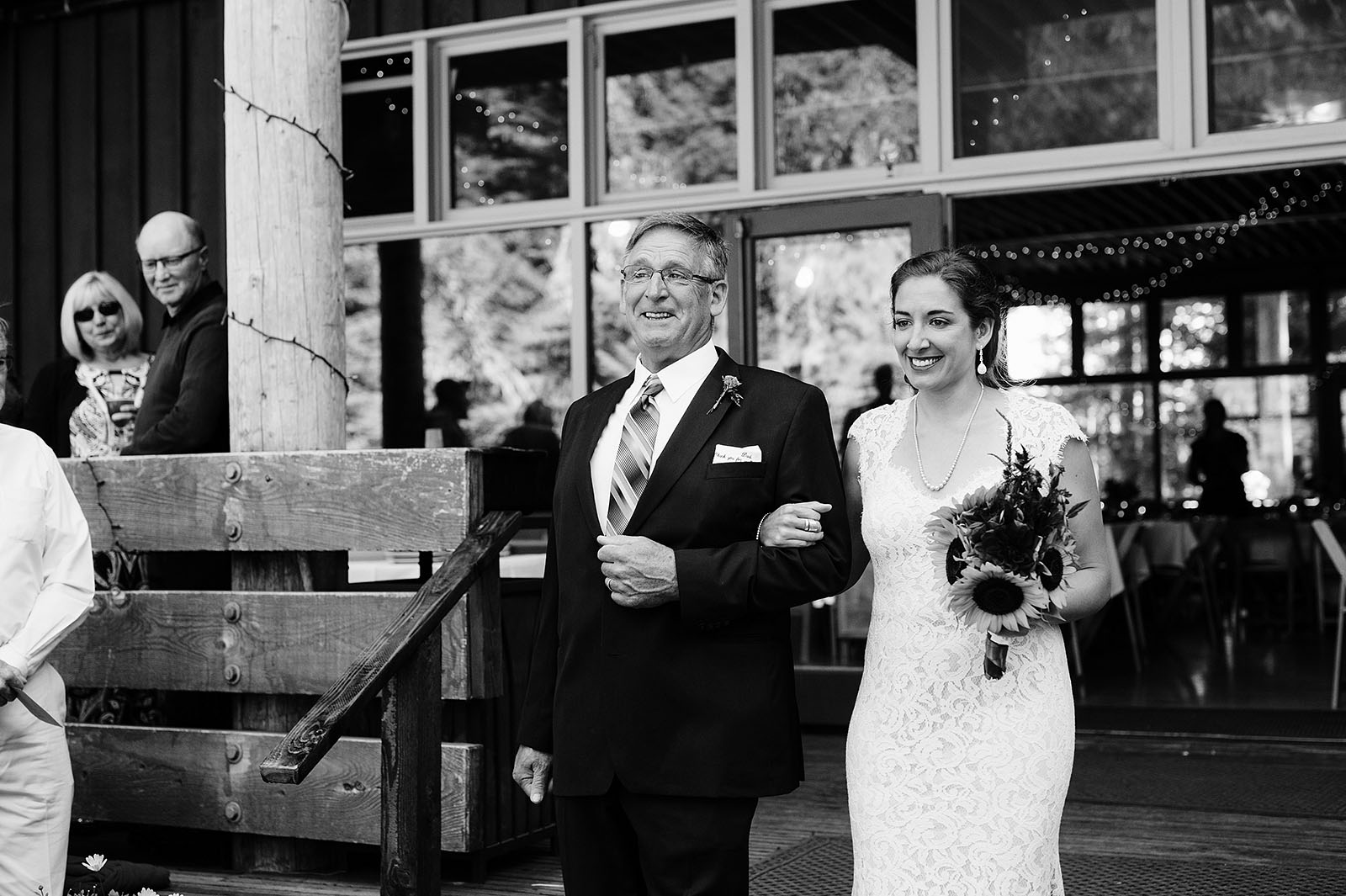 Emotional father walking his daughter down the aisle | Mazama Lodge Wedding