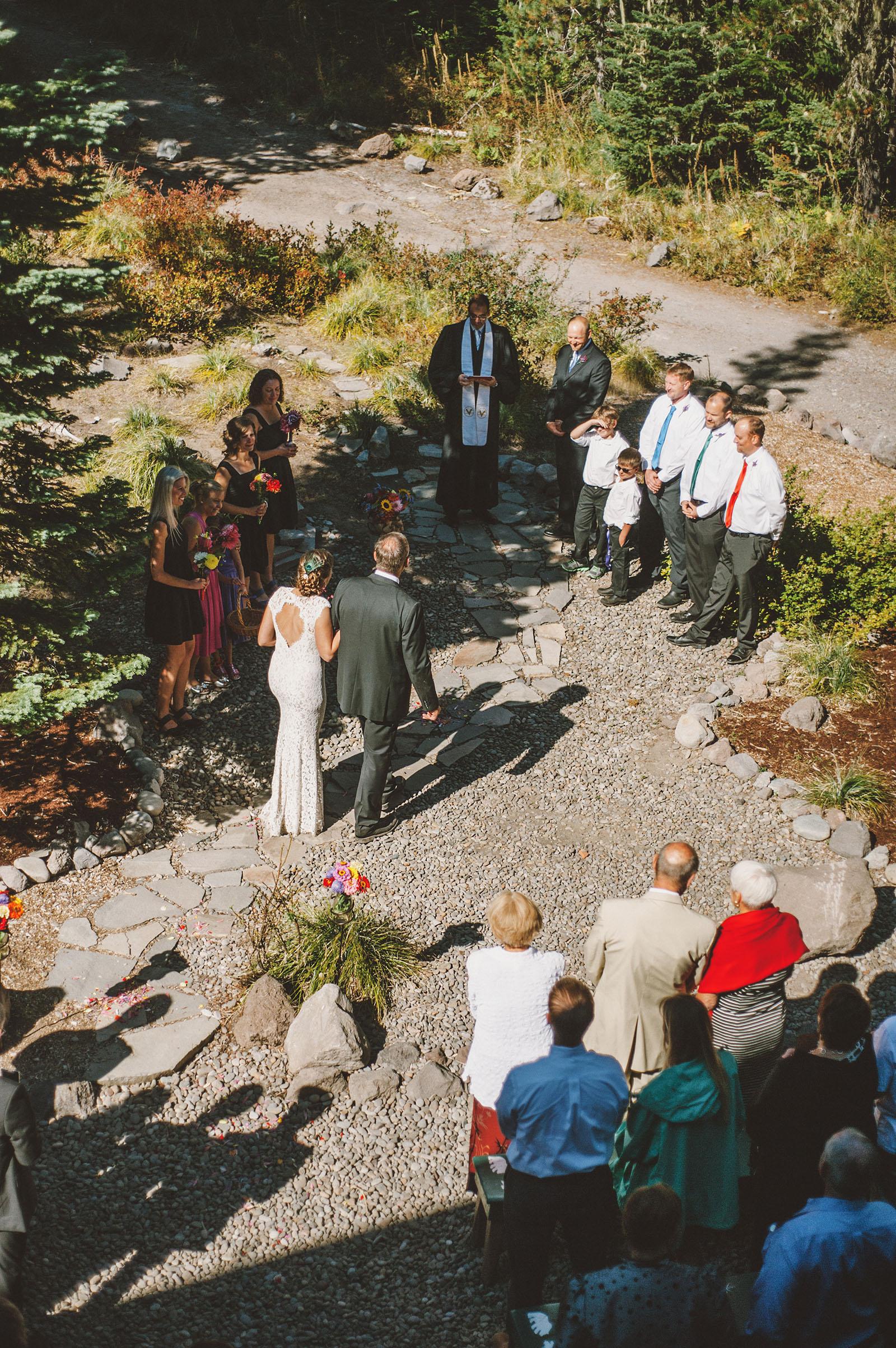Bird's eye view of the ceremony | Mazama Lodge Wedding