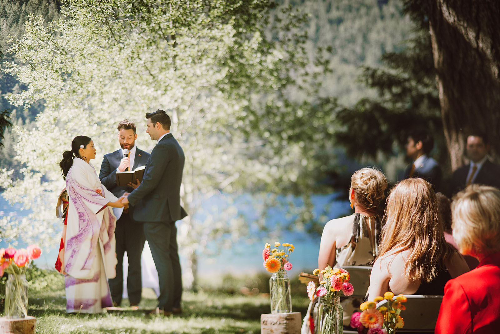 Freelens ceremony shot on the waterfront   Olympic National Park Wedding