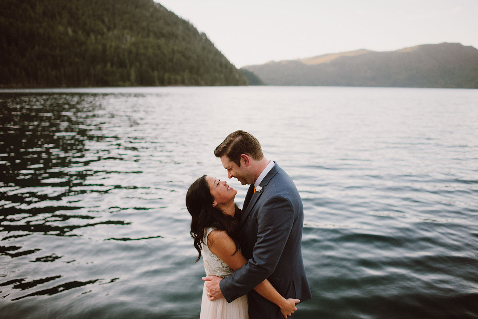 Bride and Groom portraits on Lake Crescent | Olympic National Park Wedding