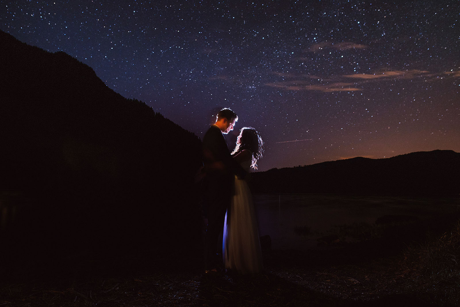 Starry portrait of bride and groom on Lake Crescent | Olympic National Park Wedding