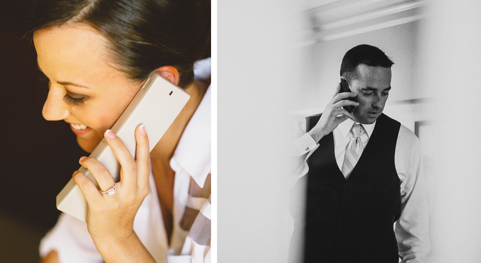 Bride and Groom talking on the phone | Sacramento Firehouse Wedding
