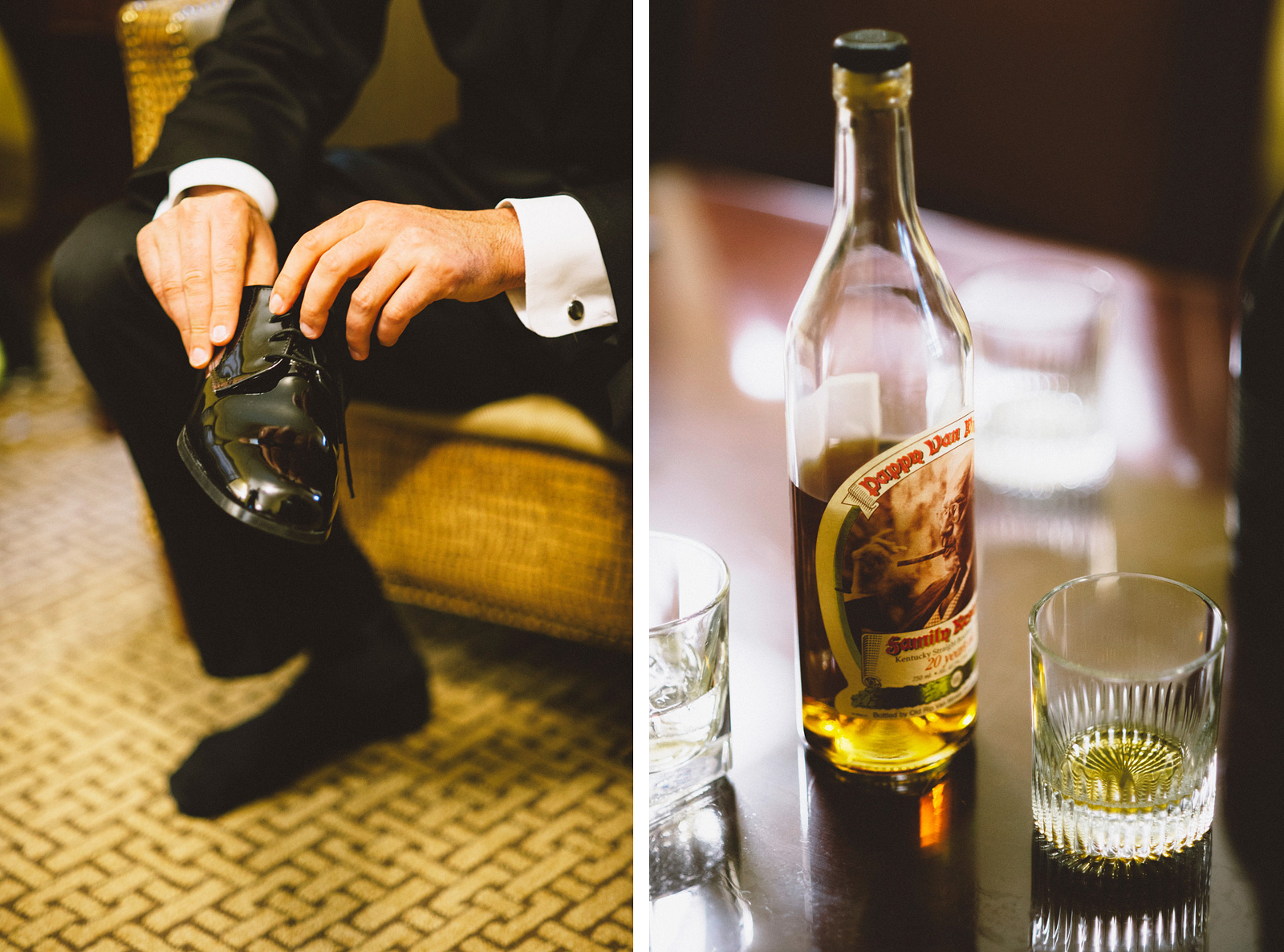 Groom getting dressed with a bottle of Pappy whiskey | Sacramento Firehouse Wedding