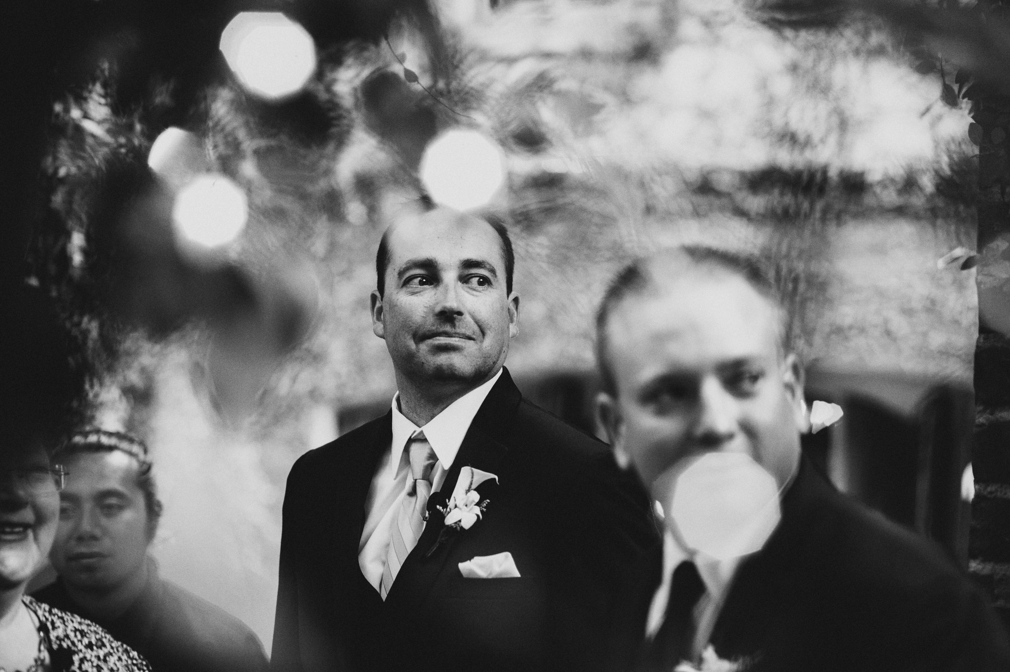 Groom waiting for ceremony to start | Sacramento Firehouse Wedding