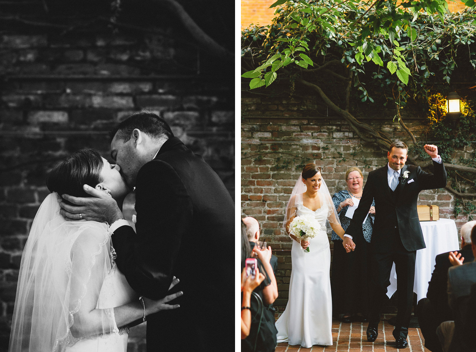 Brie and Groom's First Kiss | Sacramento Firehouse Wedding