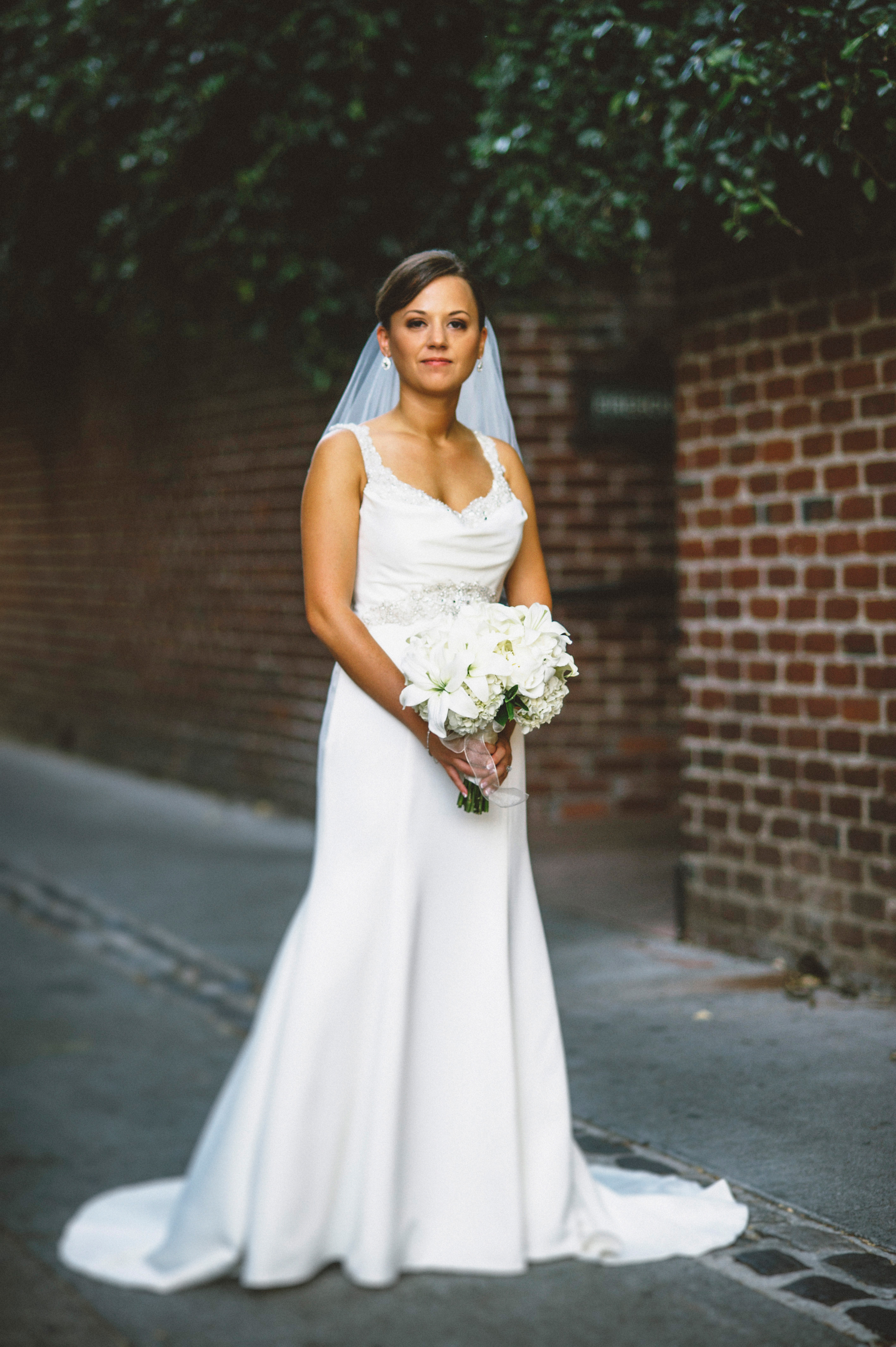 Bridal portrait in the alley | Sacramento Firehouse Wedding