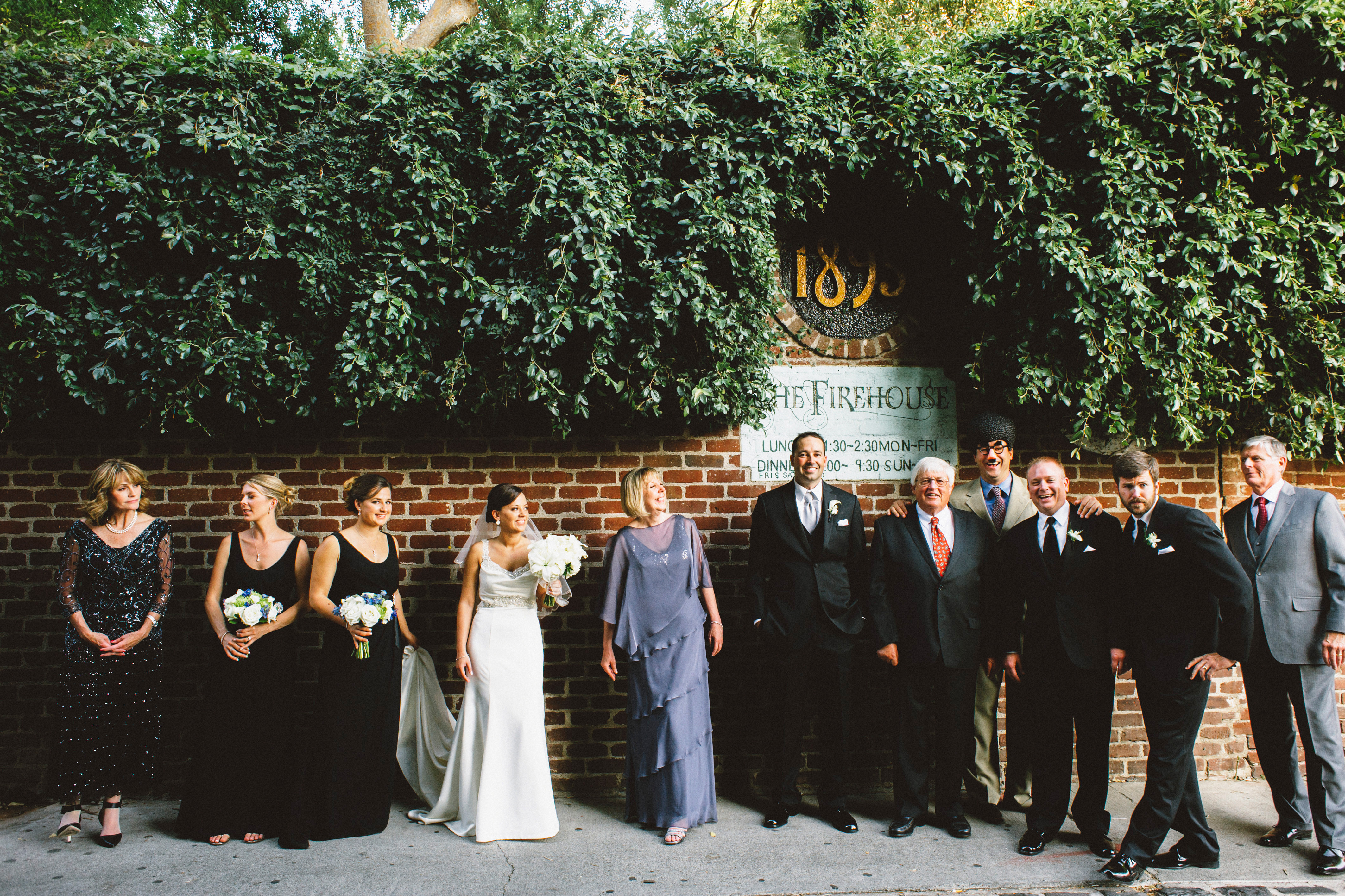 Photobombed family photo in the alley | Sacramento Firehouse Wedding