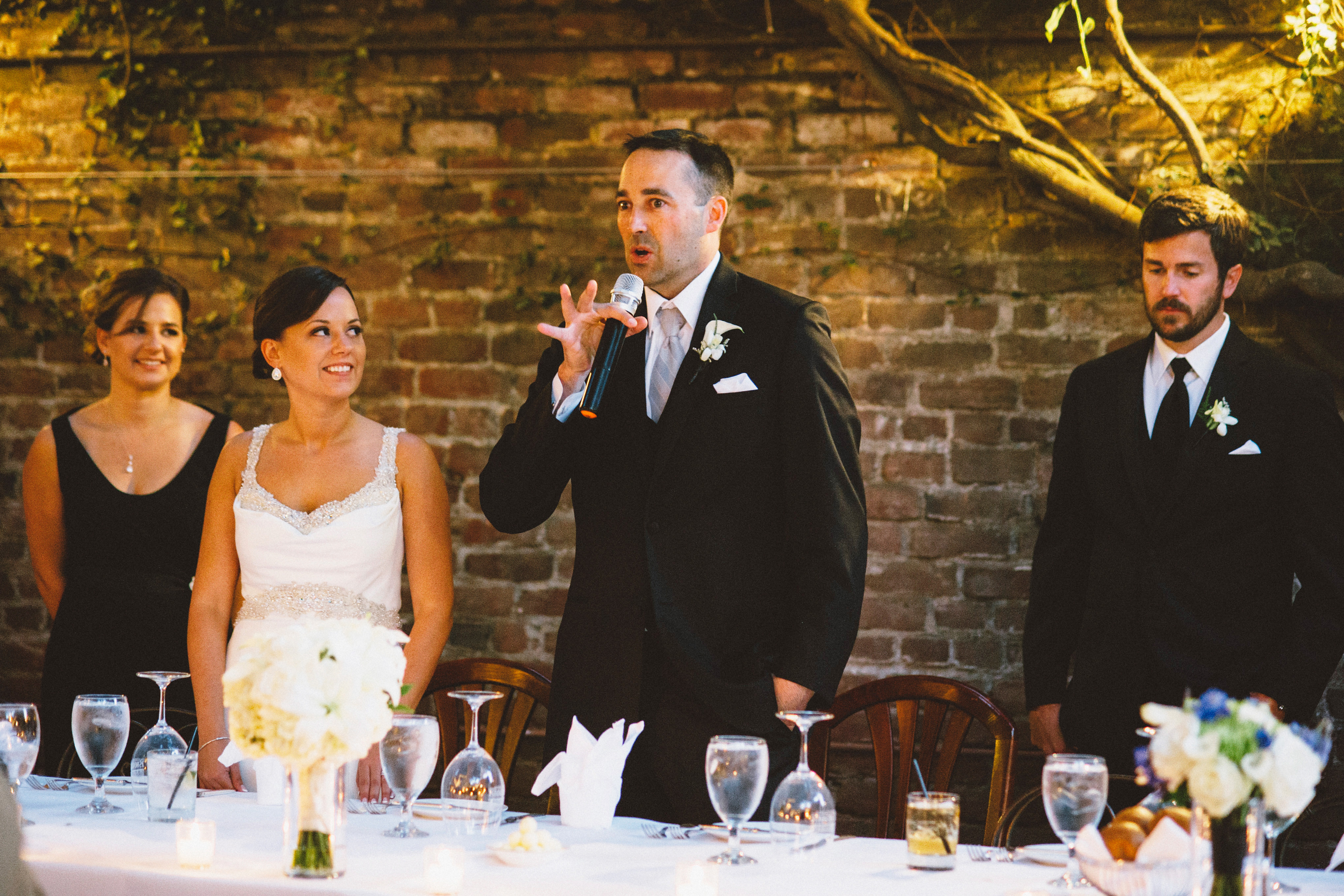 Groom giving welcome toast | Sacramento Firehouse Wedding
