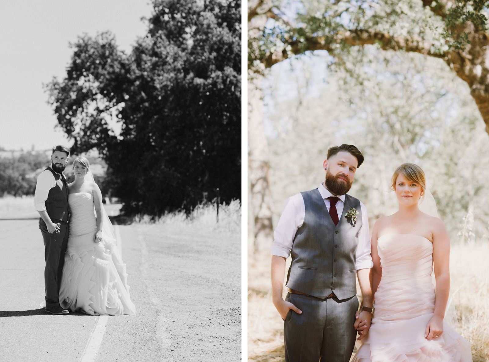 Portrait of Bride and Groom in Upper Bidwell Park | Backyard Chico California Wedding