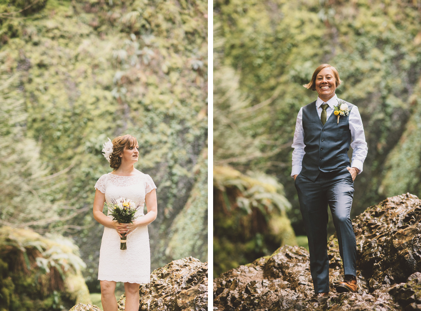 Same sex bridal portraits | Wahclella Falls Wedding