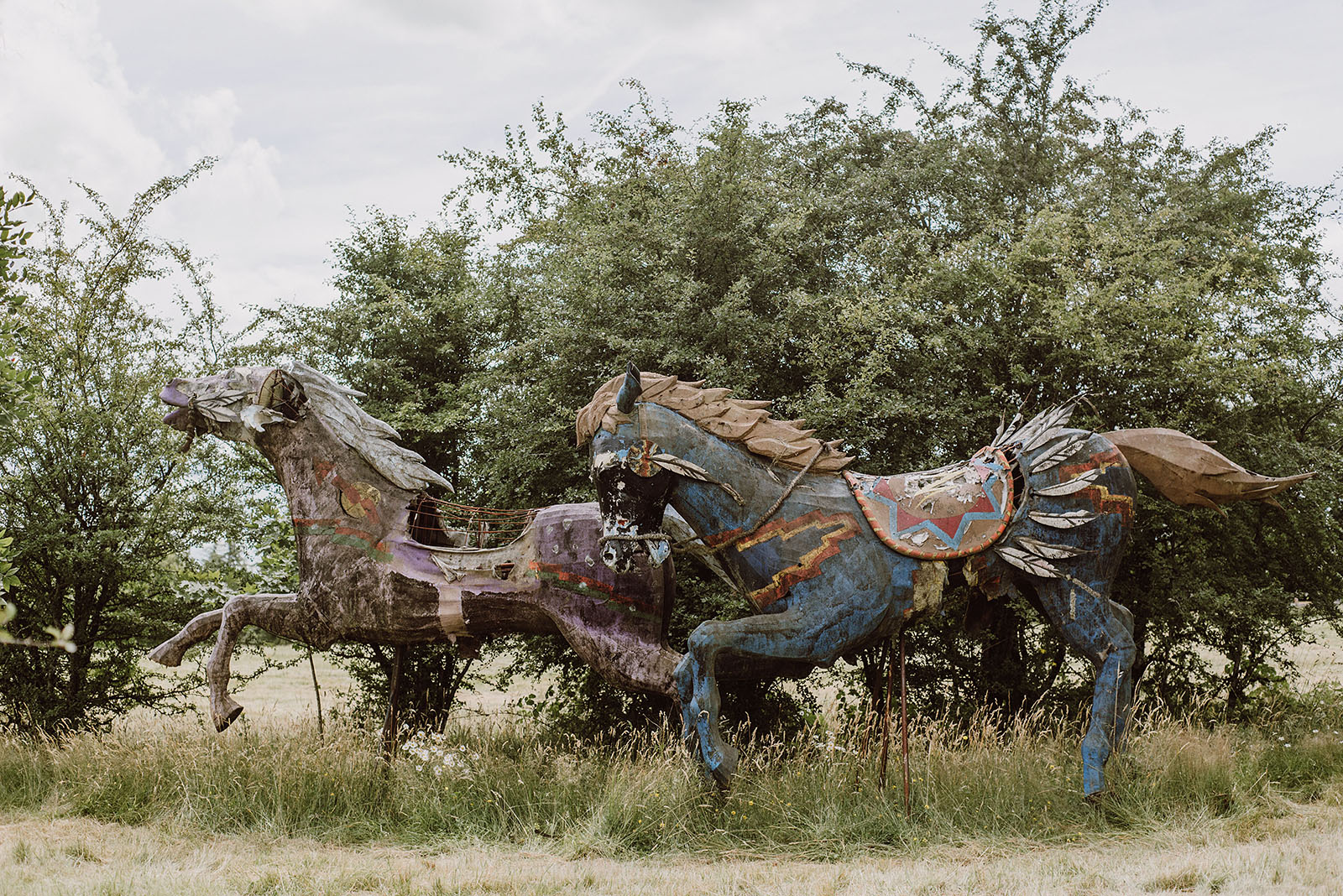 Horse Statues at Pendarvis Farm | Woodsy Campground Wedding