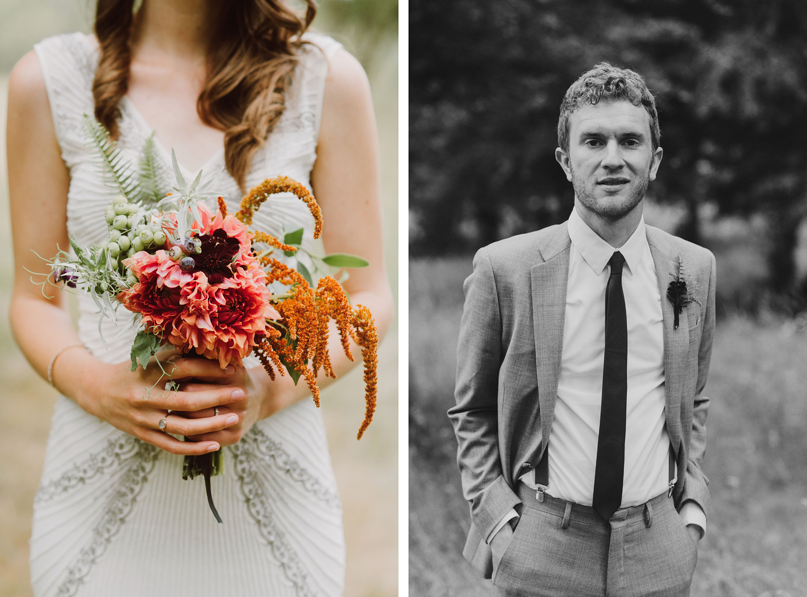 Bride and Groom portraits at Pendarvis Farm | Woodsy Campground Wedding