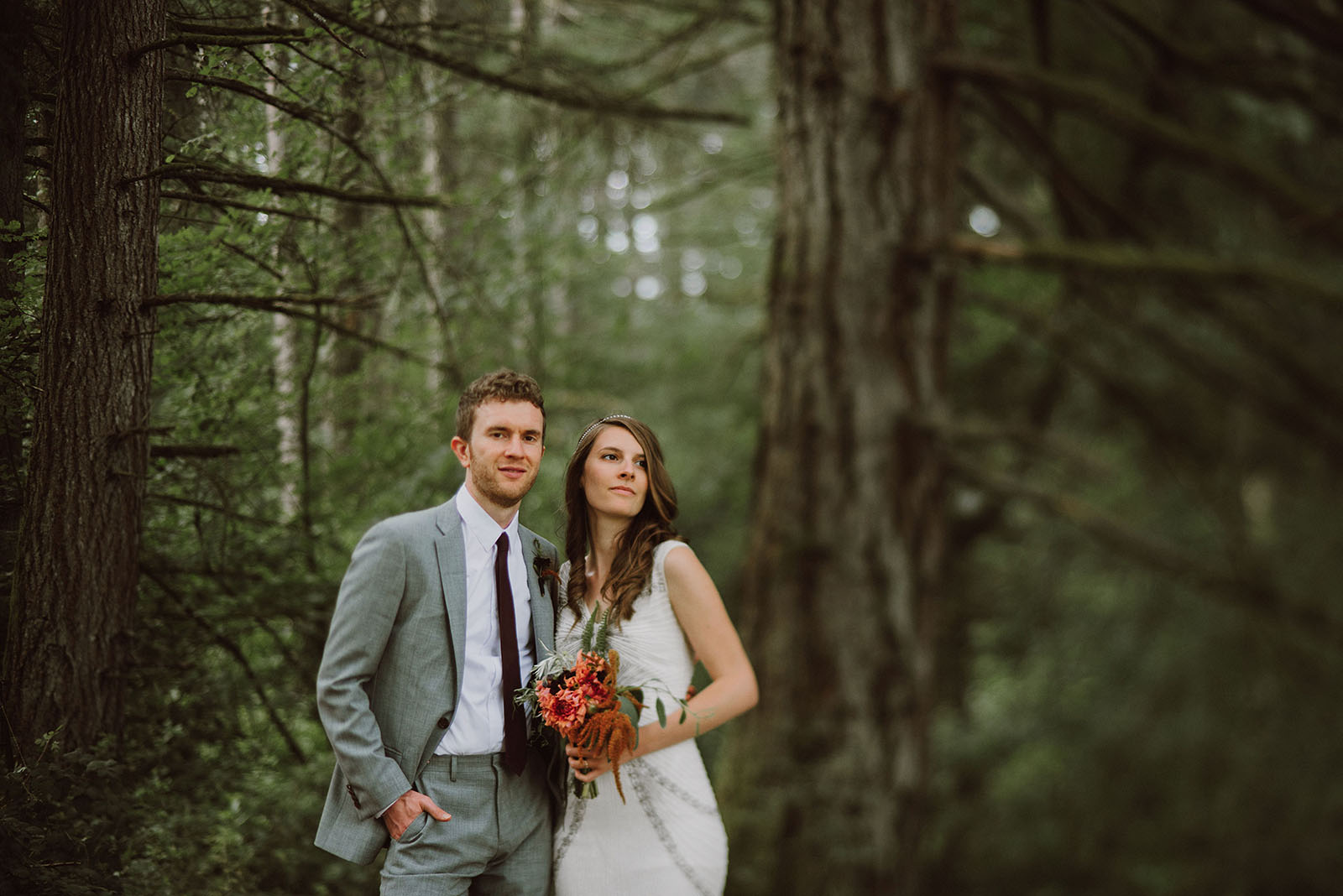 Bride and Groom portrait at Pendarvis Farm | Woodsy Campground Wedding