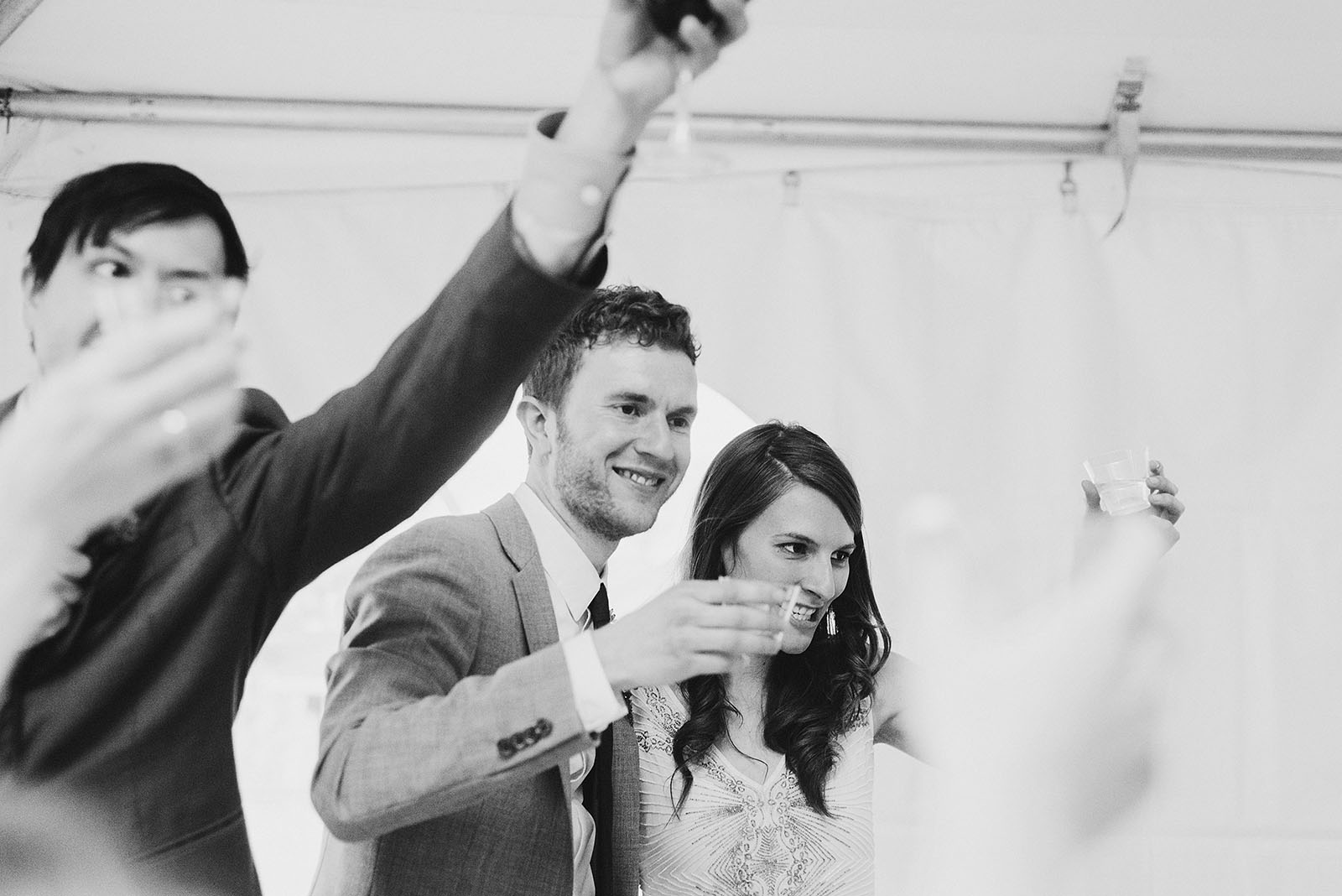 Cheers and toasts at Pendarvis Farm | Woodsy Campground Wedding